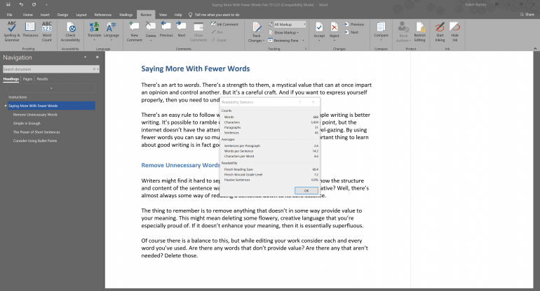 Checking Out Statistics in Microsoft Word